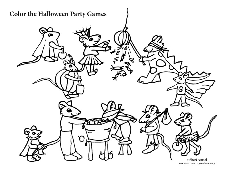 792x612 Mouse Halloween Party Games Coloring Pages