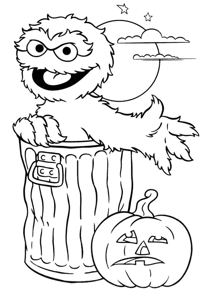 715x1024 Sesame Street Elmo Halloween Party Coloring Pages