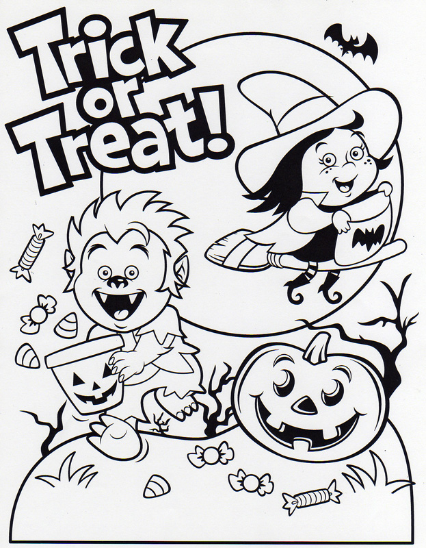 623x800 Trick Or Treat Coloring Pages Trick Or Treat Bag Party Halloween