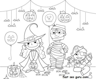 410x338 Kids Halloween Costume Party Ideas Coloring Page