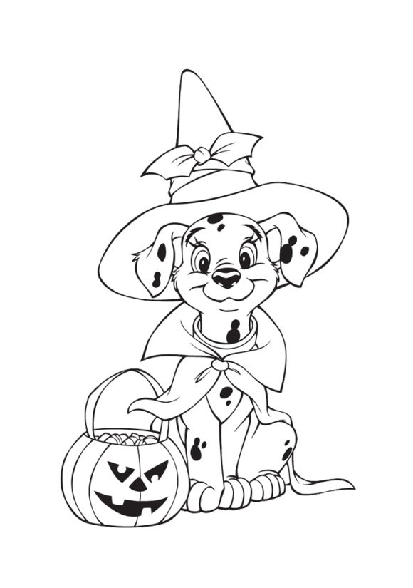 580x825 Puppy Halloween Coloring Pages