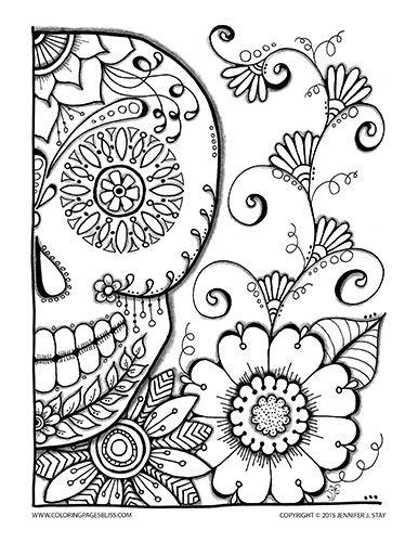 386x500 Halloween Coloring Pages Dia De Las Muertos, Colorear Y Mandalas