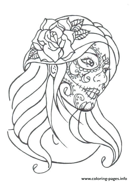 518x720 Skulls Coloring Pages Flaming Skull Coloring Page Halloween Sugar