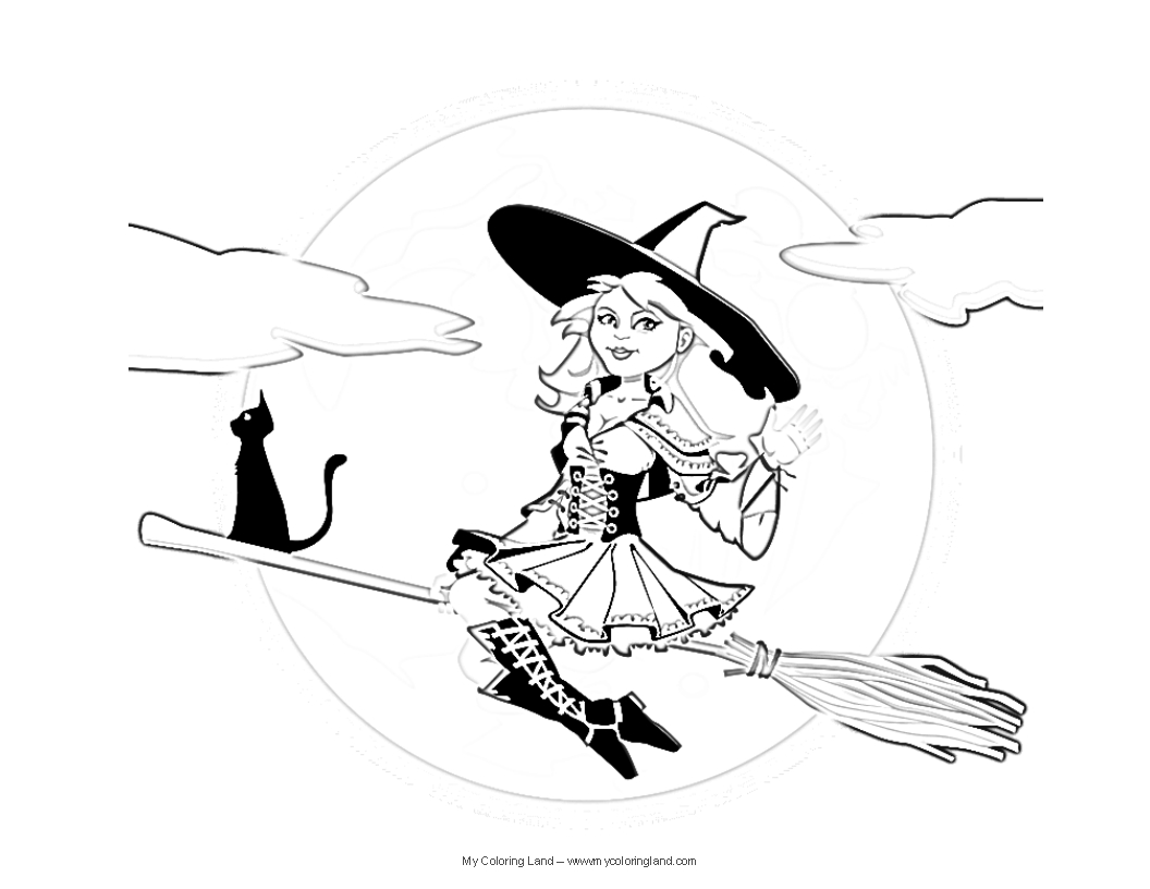 1056x816 Witch Kitty Coloring Page