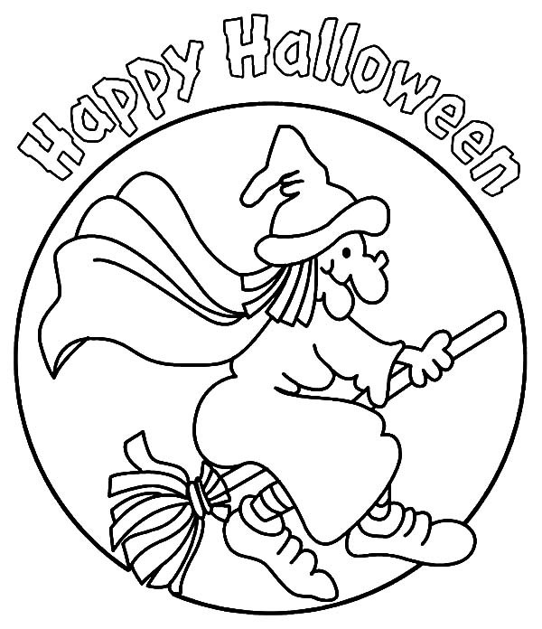 600x696 Halloween Witch Coloring Pages Happy Halloween Witch Coloring