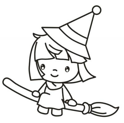 400x398 Cute Halloween Witch Coloring Pages