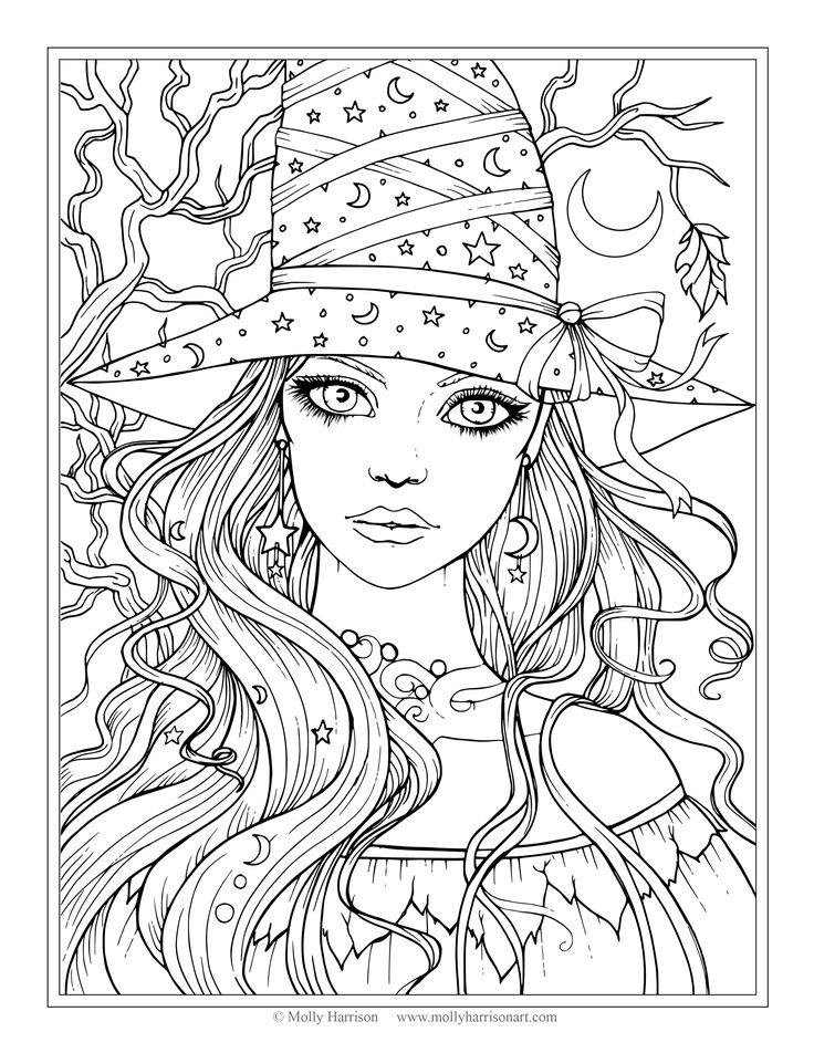 736x952 Free Witch Coloring Page Halloween Coloring Pages