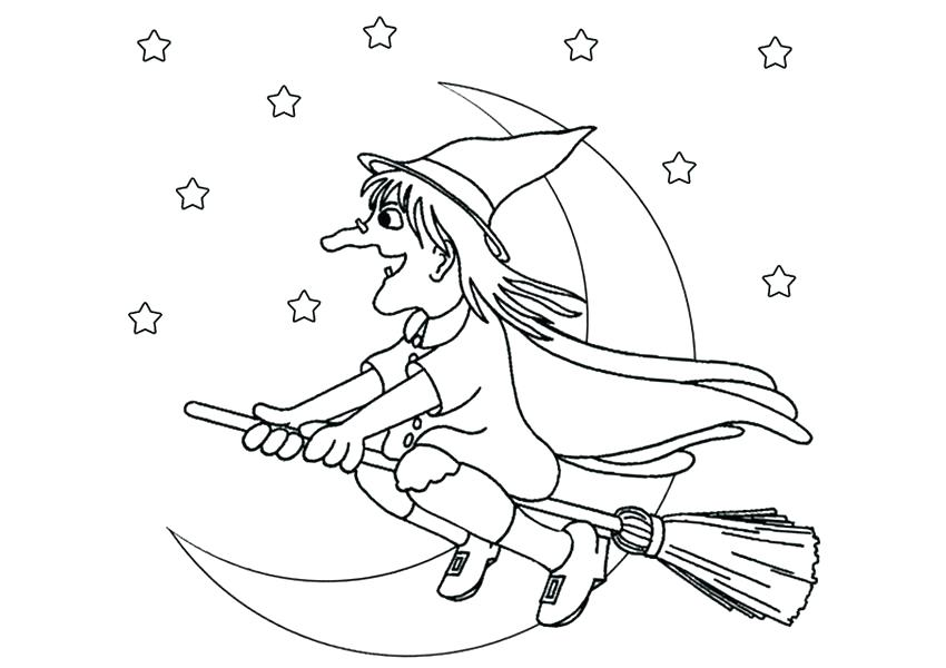 850x600 Witch Coloring Pages Witch With Her Broom Wicked Witch Coloring