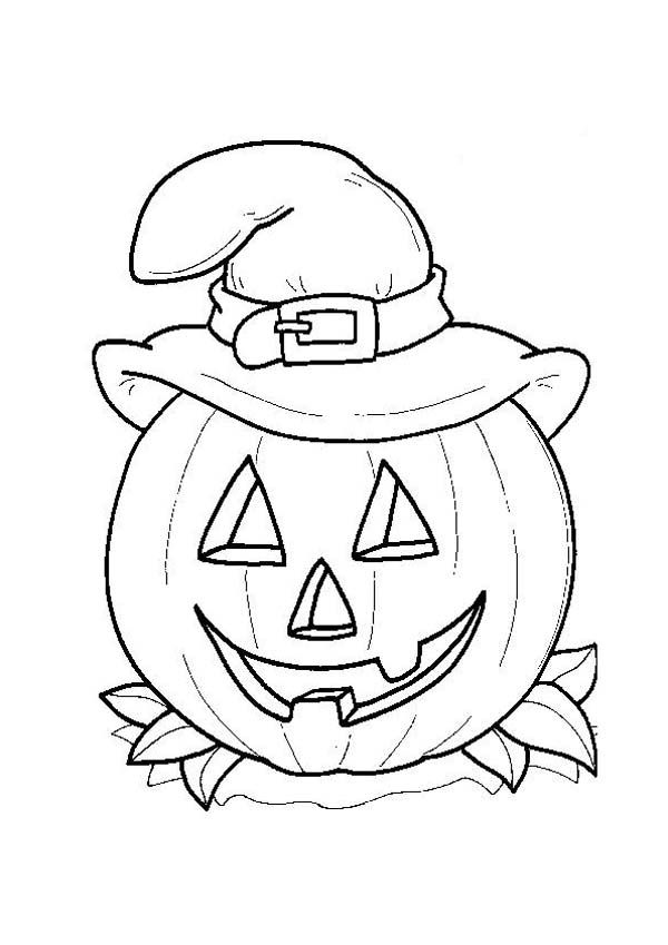 600x849 Halloween Day, Smiling Jack O' Lantern With Witch Hat On Halloween