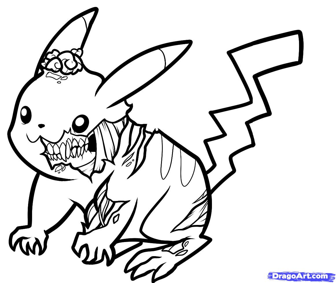 1162x980 Pikachu Coloring Pages Zombie Drawing And Stunning