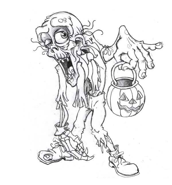 600x645 Zombie With Halloween Lantern Coloring Page Kids Play Color
