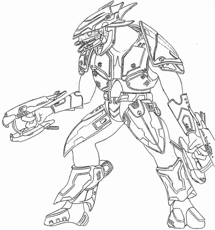 863x921 Halo Gun Coloring Pages To Print Free Master Chief Printable