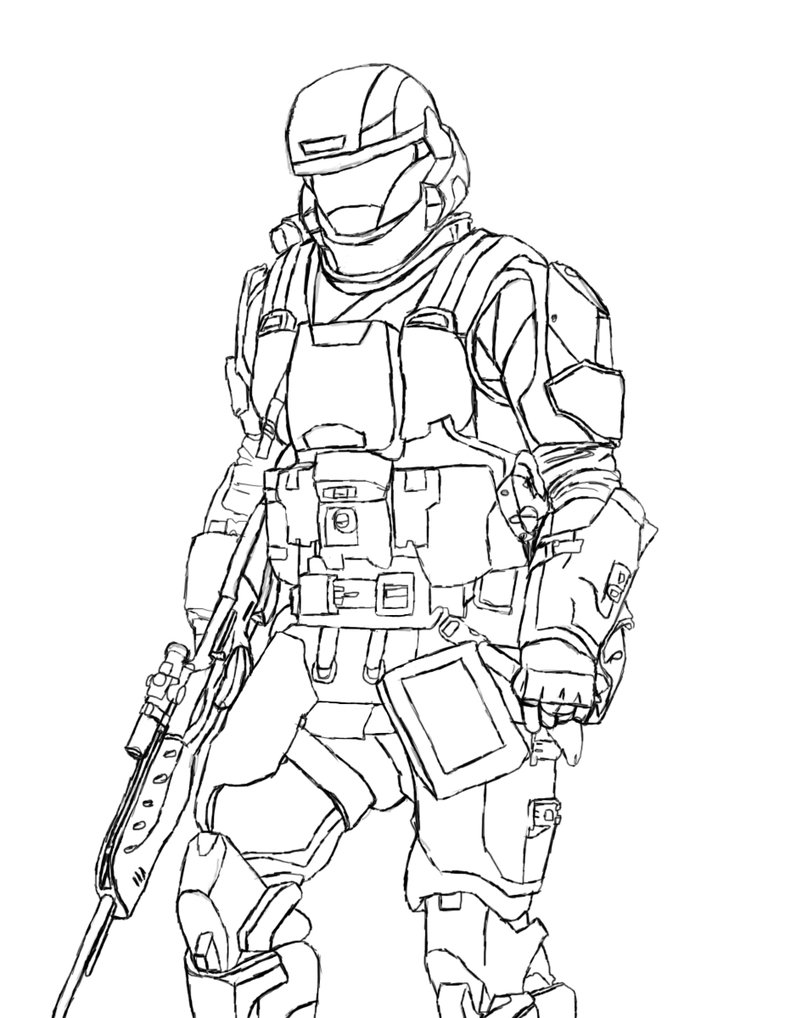 785x1018 Master Chief Coloring Page