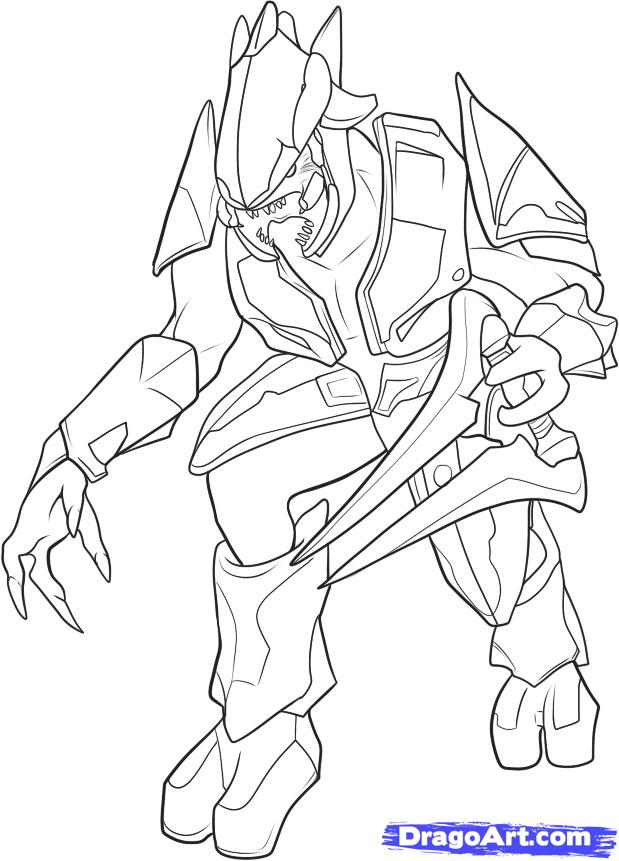 619x861 Halo Elite Coloring Pages