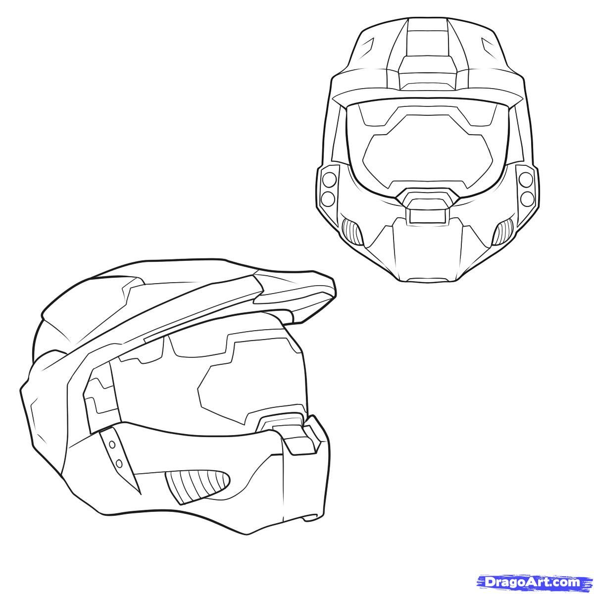 1200x1200 How To Draw A Halo Helmet, Step