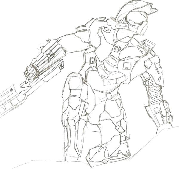 600x569 Halo Master Chief Coloring Pages