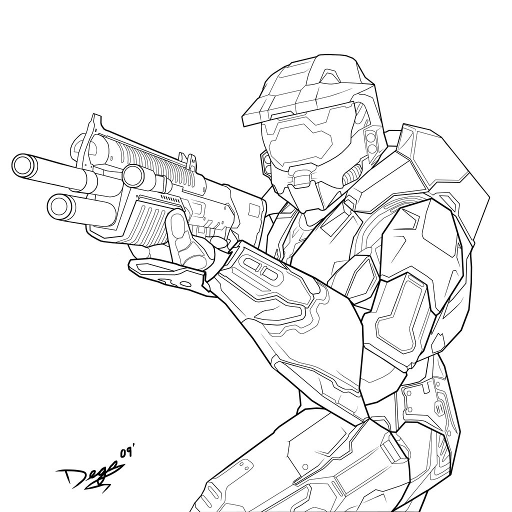 1024x1024 Halo Coloring Pages Free Printable Unusual Master Chief