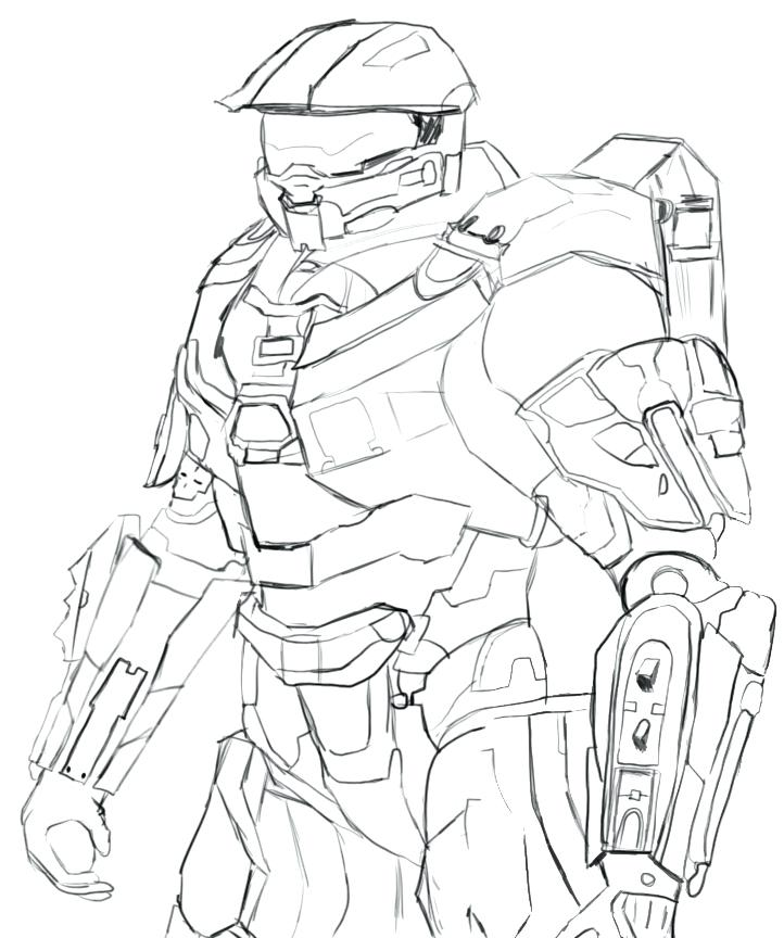722x864 Exciting Halo Master Chief Coloring Pages Cool Master Chief