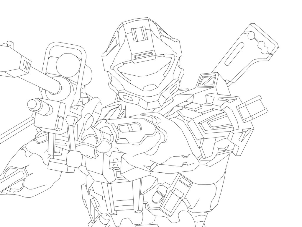 1024x768 Halo Spartan Coloring Pages