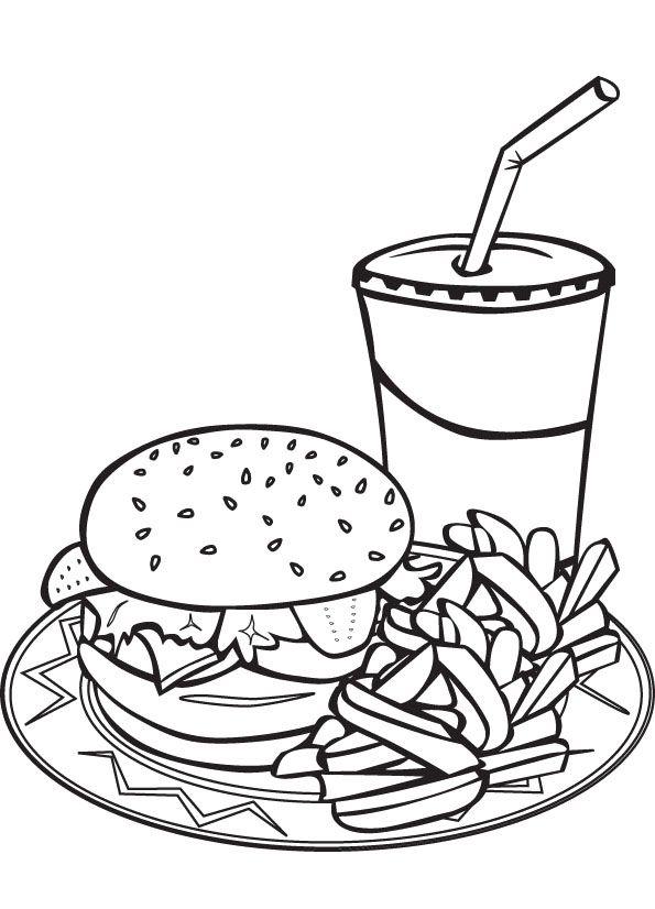 595x826 Hamburger + French Fry + Milkshake Coloring Sheet