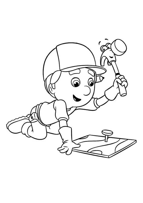 600x849 Handy Manny Using Pat The Hammer Coloring Page