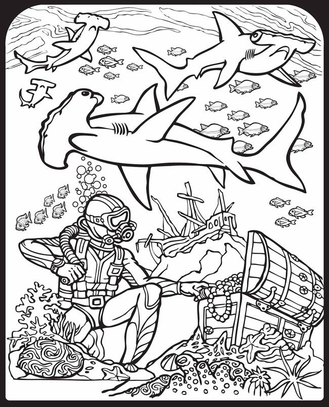 650x806 Sharks! Stained Glass Coloring Book Dover Publications Stained