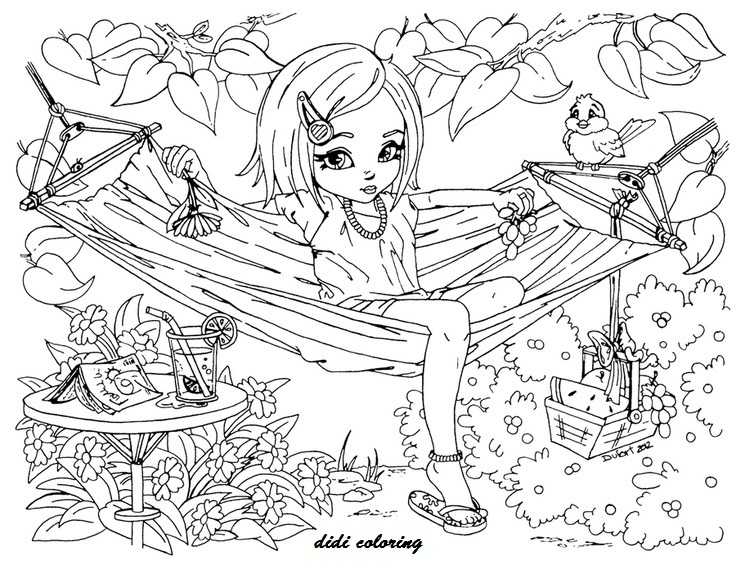 736x569 Printable Summer Time Girl Enjoy On Hammock Didi Coloring Pages