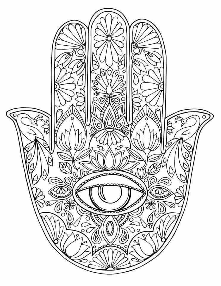 742x960 New Evil Eye Coloring Pages Hamsa Tree Of Life Hand Drawn Adult