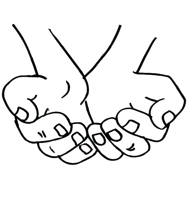 600x627 Hand Washing Coloring Pages Hand Coloring Page Cupped Hands