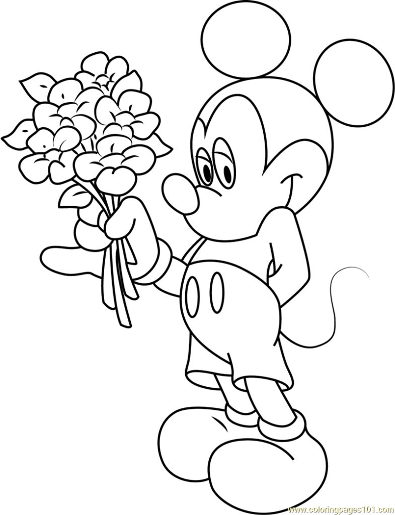 785x1024 Mickey Mouse Having Flowers In Hand Coloring Page Free Mickey
