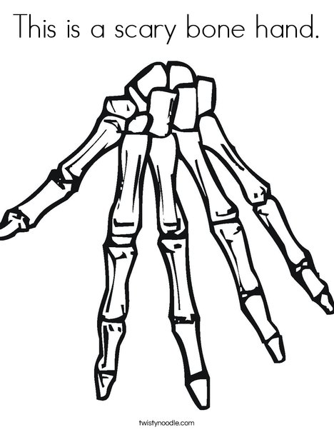 468x605 This Is A Scary Bone Hand Coloring Page