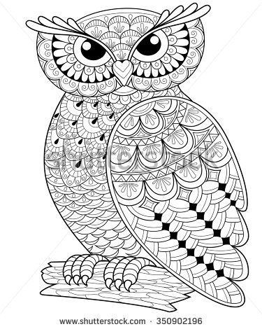 375x470 Decorative Owl Adult Antistress Coloring Page Black And White