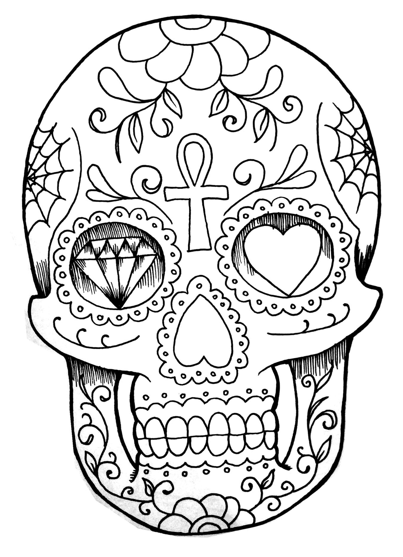 2000x2764 El Dia De Los Muertos Skull Hand Drawing