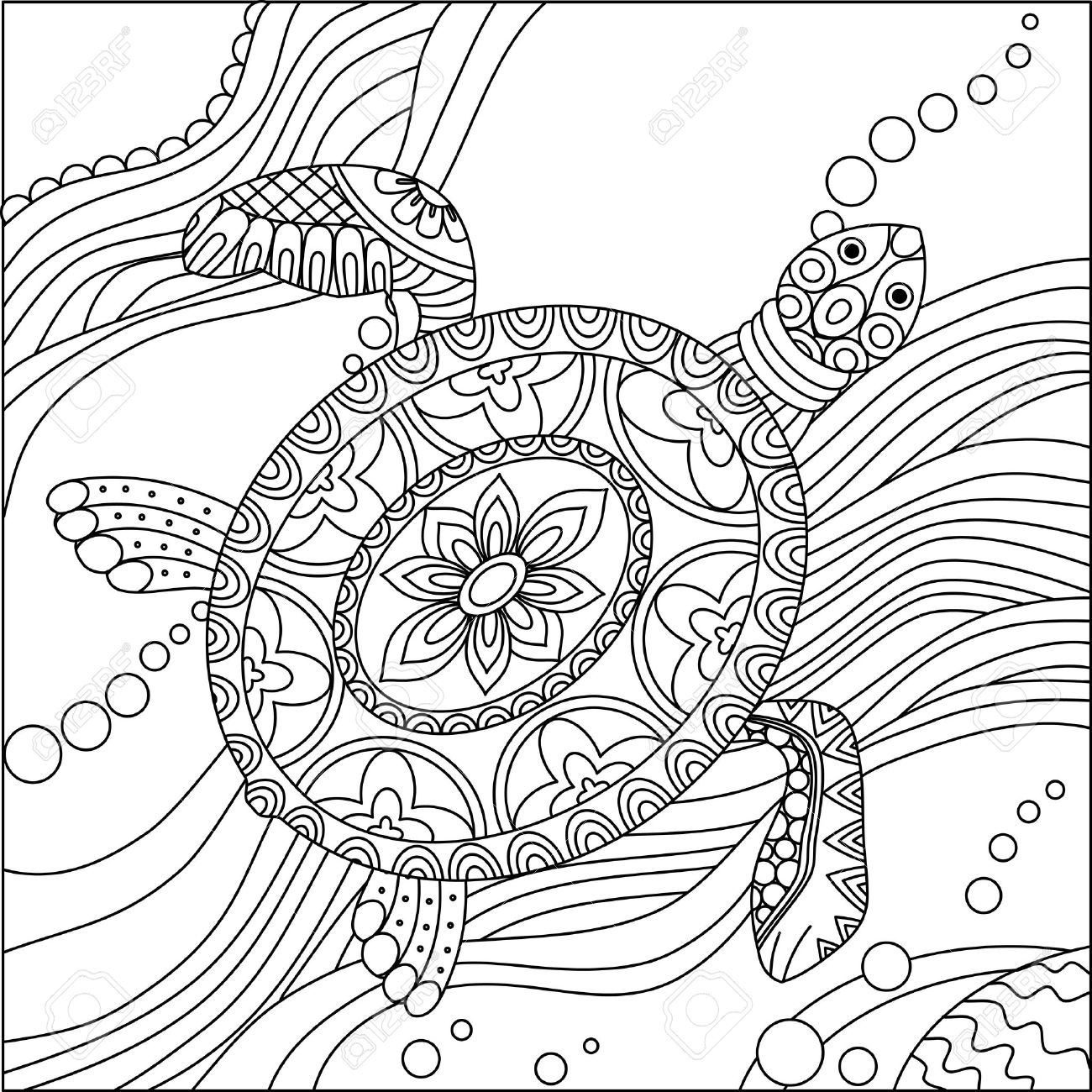 1300x1300 Fresh Sea Turtle Doodle Hand Drawn Vector Illustration Coloring
