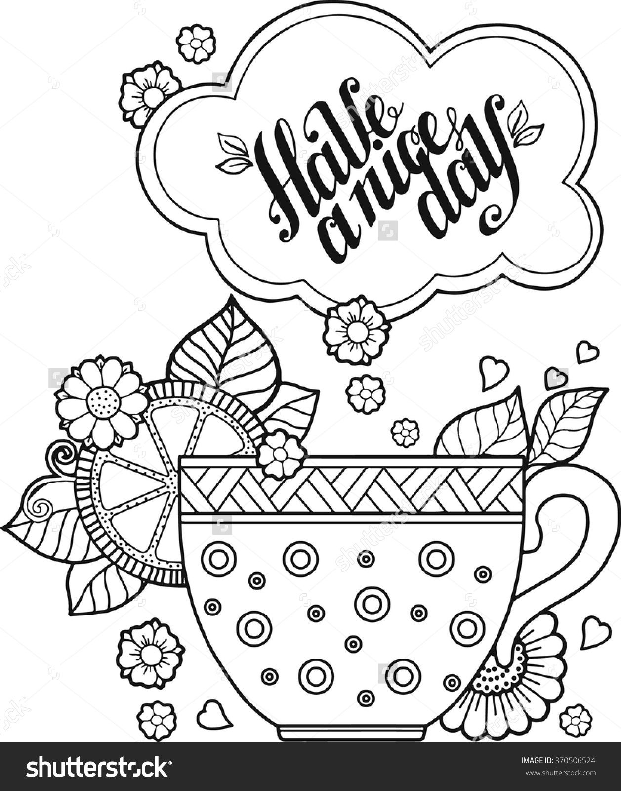 1257x1600 Hand Drawing Vector A Cup Of Herbal Tea For A Good Day Coloring