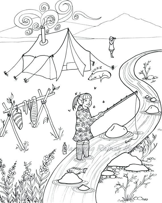 570x714 Alaska Coloring Book Pages Printable Coloring Native Hand Drawn