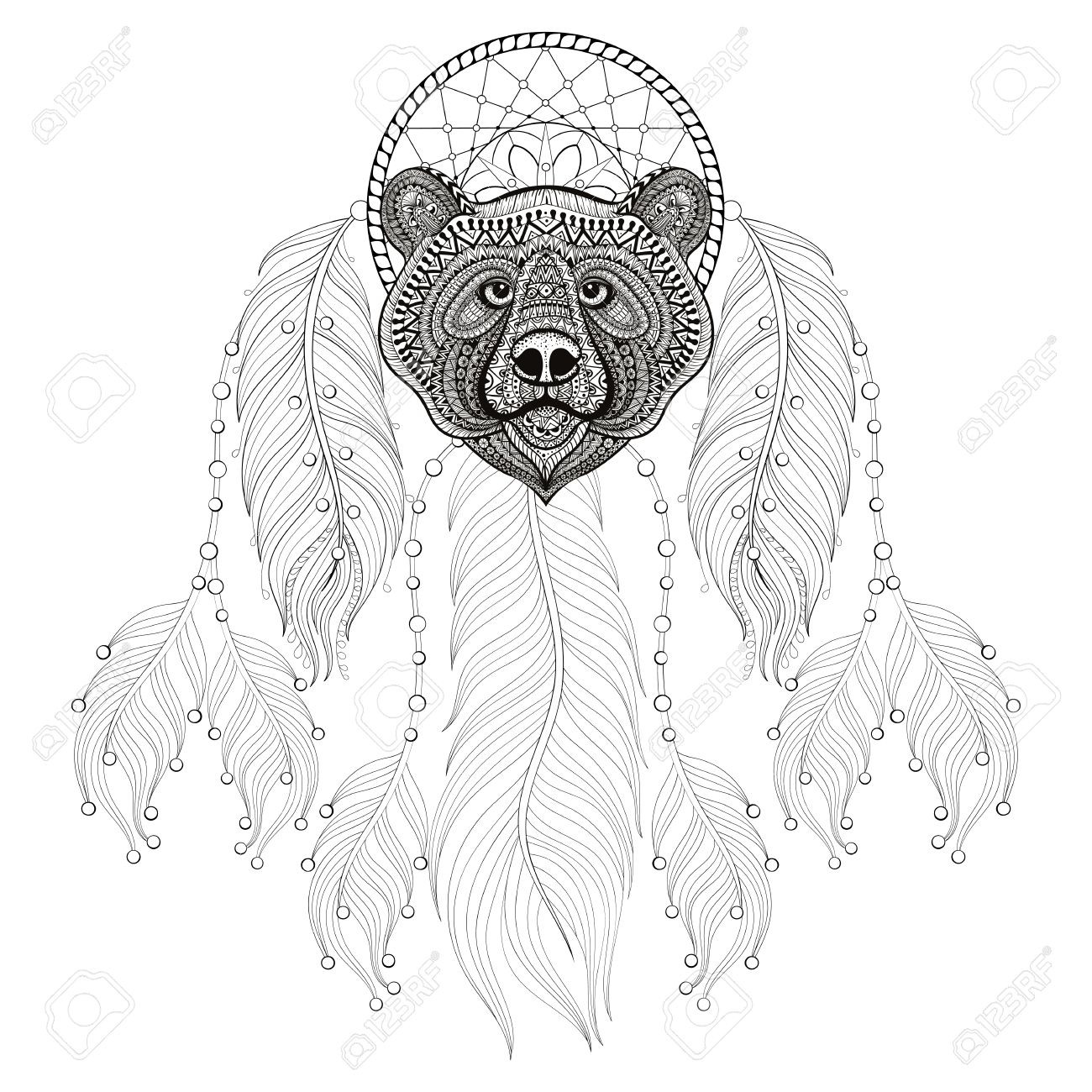 1300x1300 Hand Drawn Dreamcatcher With Bear Head For Adult Coloring Pages
