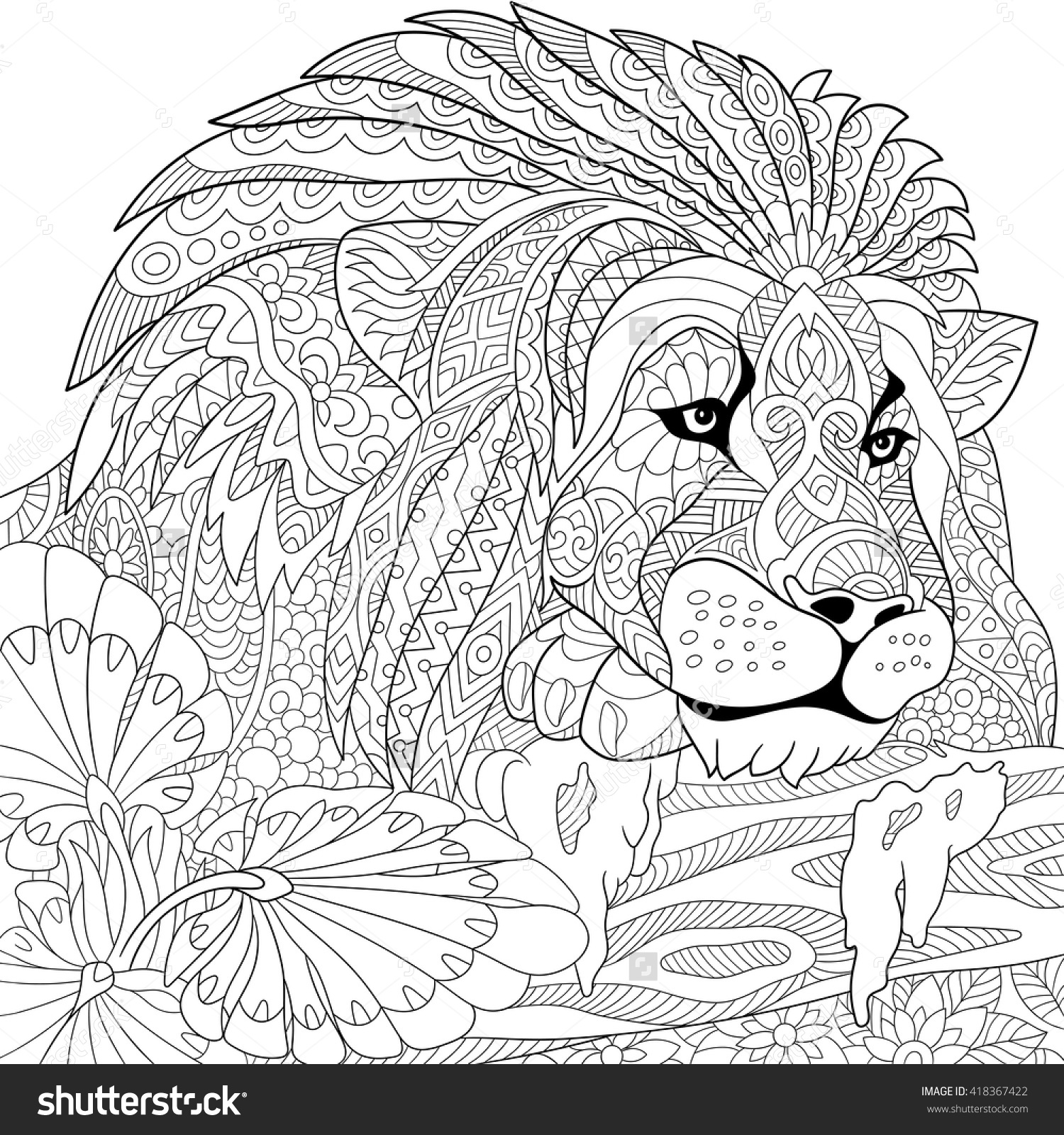 1500x1600 Hand Drawn Lion Coloring Page Stock Vector Illustration To Print