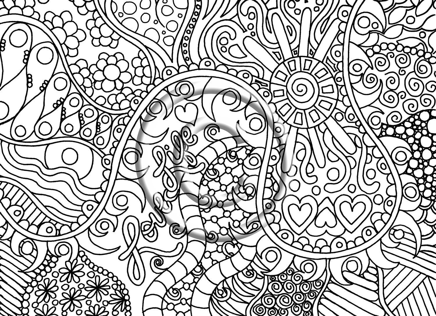 1500x1090 Printable Download Coloring Page Hand Drawn Zentangle Inspired