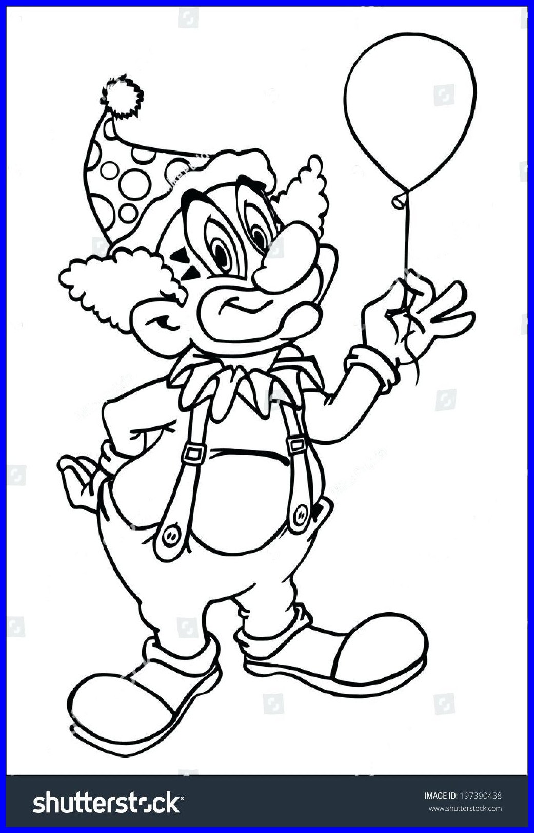 1041x1622 The Best Clown Coloring Hand Drawn Cartoon Funny Page Printable