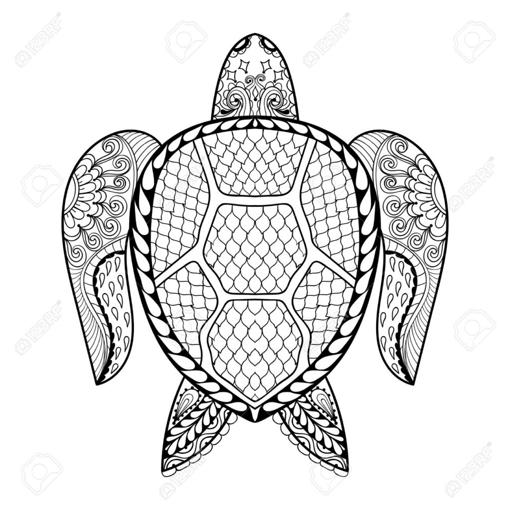 1024x1024 Tribal Coloring Pages Hand Drawn Sea Turtle Mascot For Adult