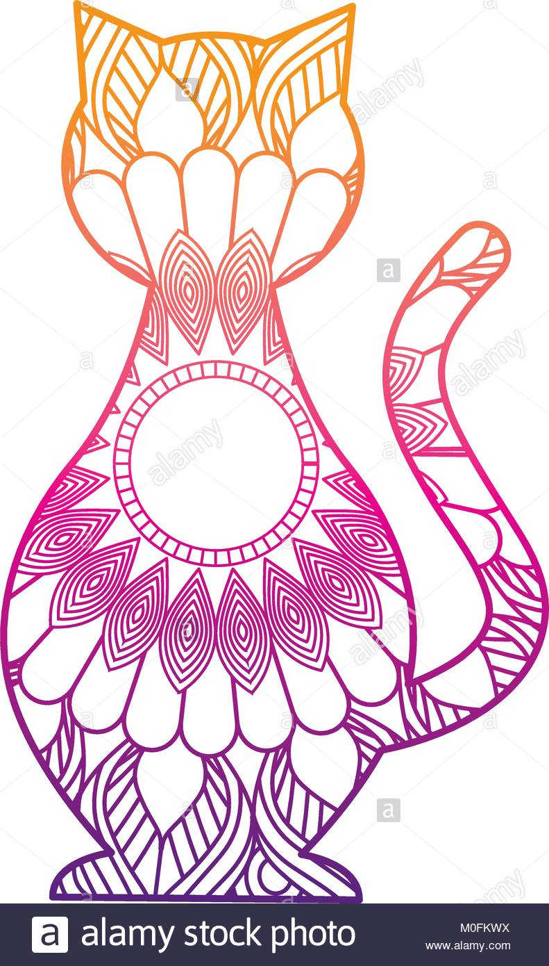 791x1390 Hand Drawn For Adult Coloring Pages With Cat Zentangle Stock