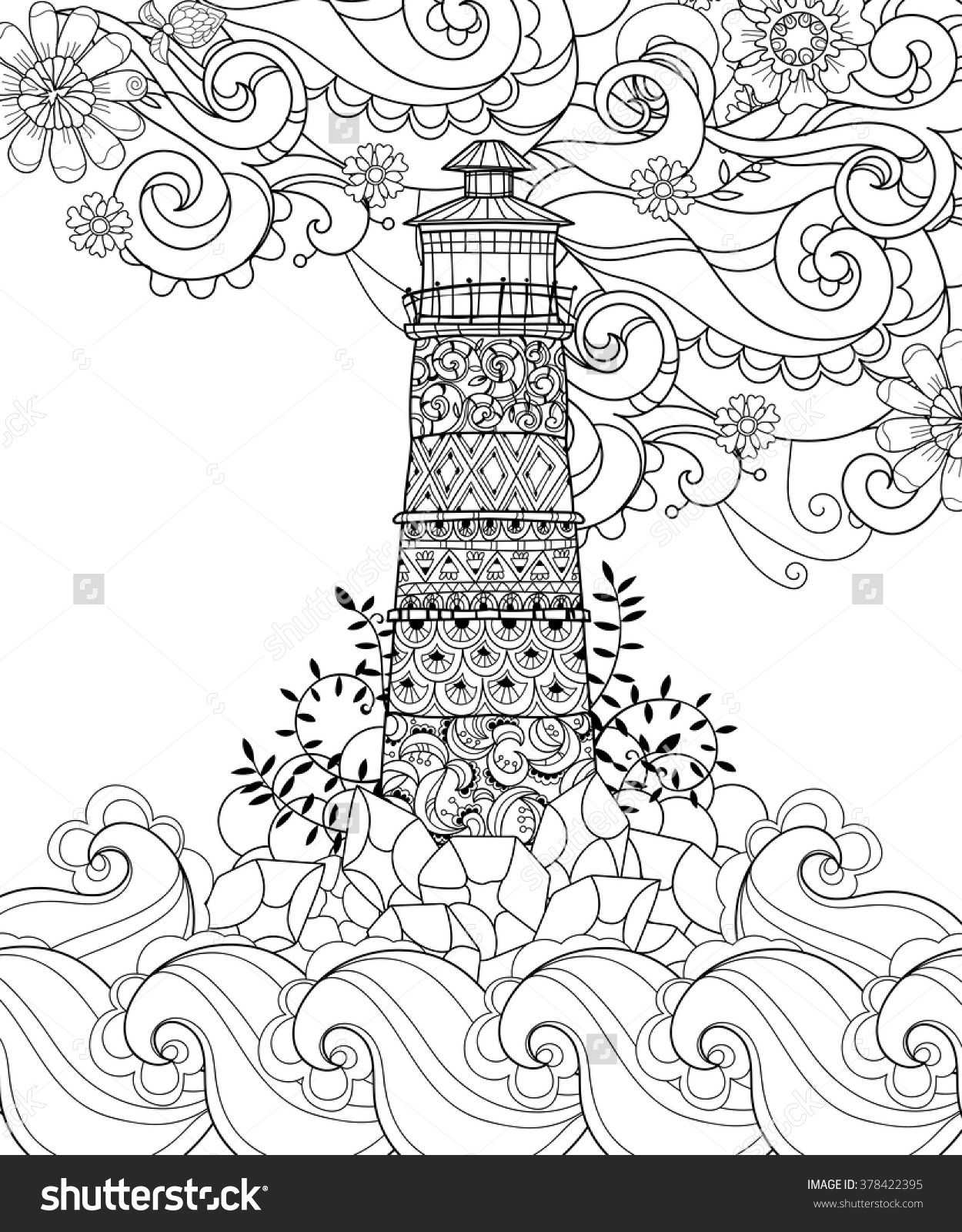 1250x1600 Awesome Hand Drawn Doodle Outline Lighthouse Decorated With Floral