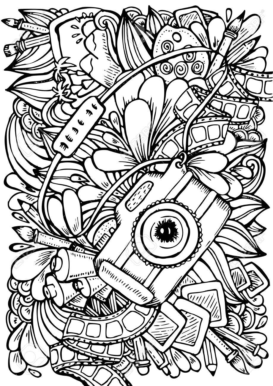 919x1300 Camera Coloring Pages Hand Drawn Pattern Anti Stress Book Page