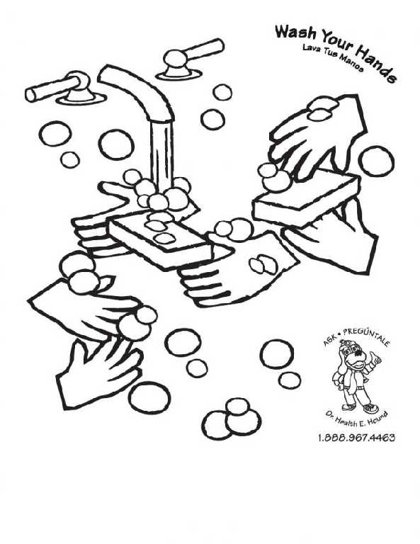 593x768 Hand Washing Coloring Pages For Preschoolers Magnificent Washing