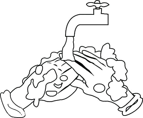 600x495 Hygiene Coloring Pages Hand Washing Coloring Pages Hand Washing