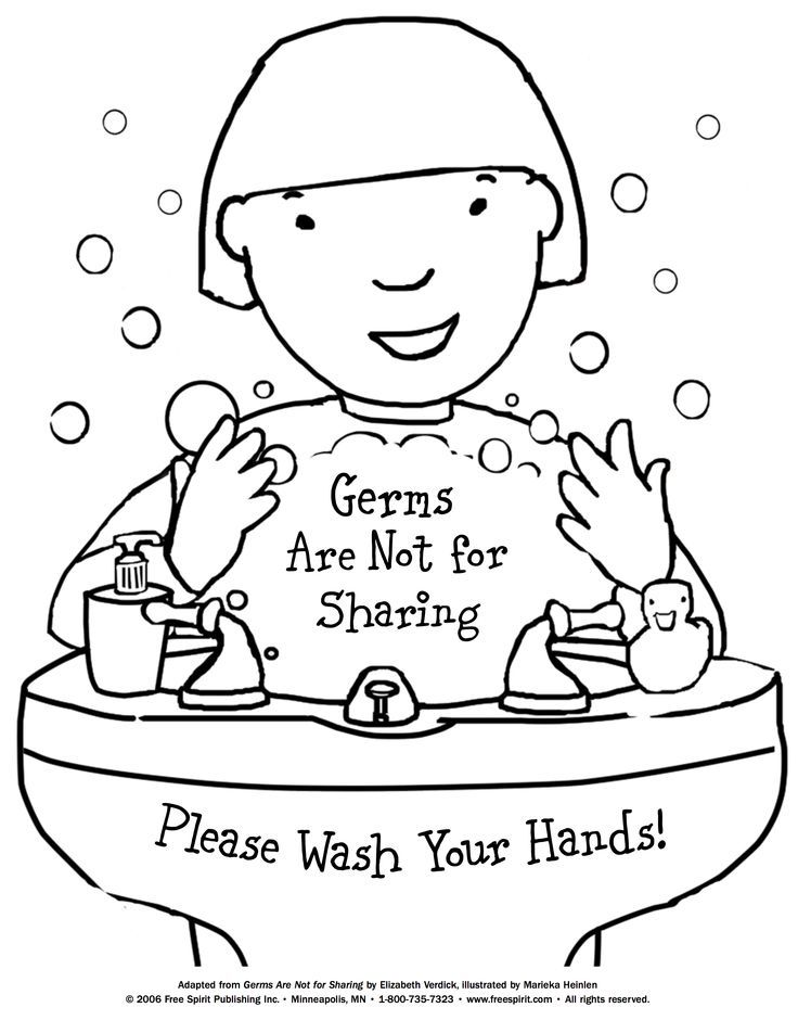 736x952 Free Printable Coloring Page To Teach Kids About Hygiene Germs