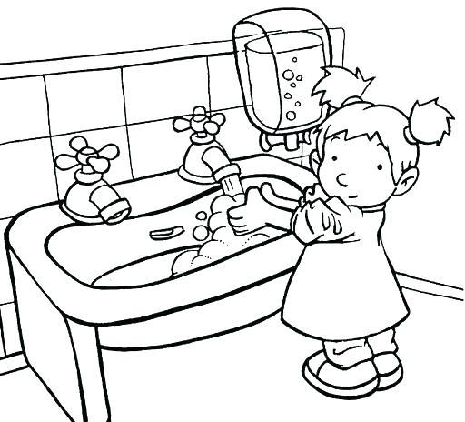512x464 Washing Hands Coloring Page Hand Washing Coloring Sheets Washing