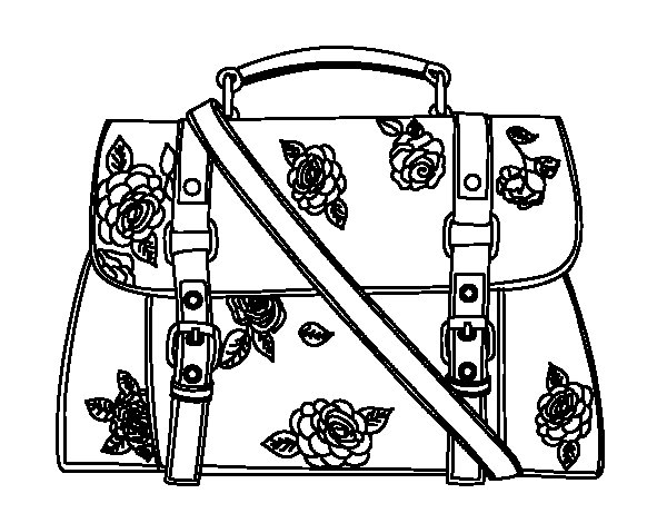 600x470 Flowered Handbag Coloring Page
