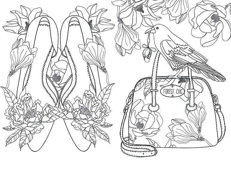 768x561 Coloring Pages Christmas Reindeer Shoes And Handbag Colouring Page